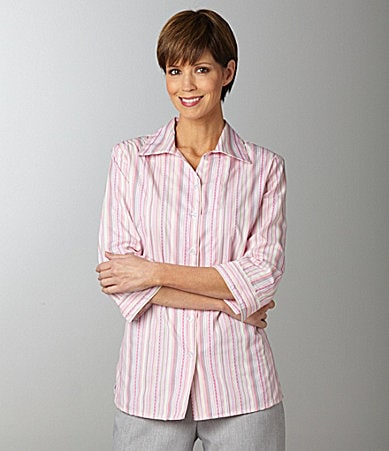 Allison Daley Petites Metallic Dobby-Stripe Camp Shirt