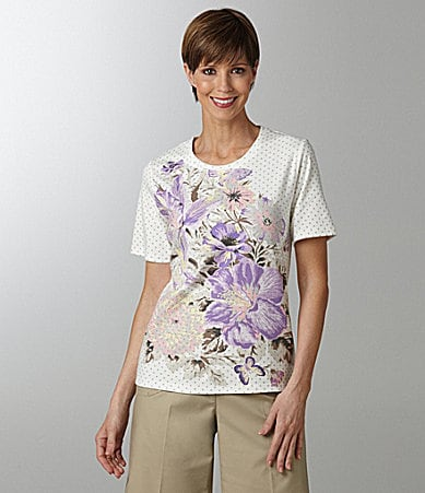 Allison Daley Petites Floral/Dot-Print Knit Top