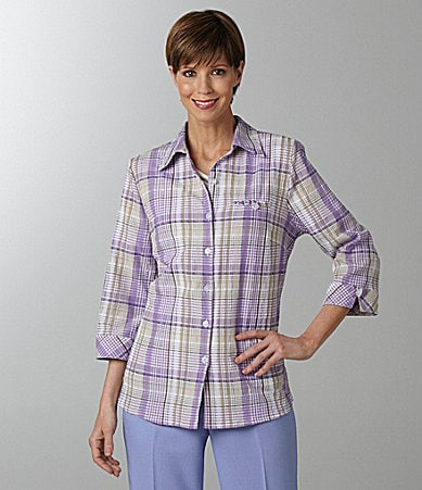 Allison Daley Petites Textured-Plaid Camp Shirt