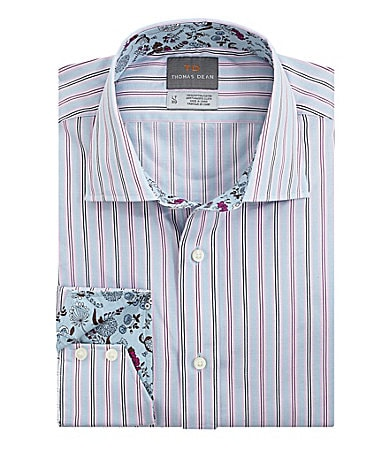 Thomas Dean Big & Tall Multicolor Striped Sportshirt