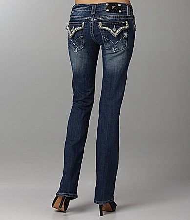 Miss Me Jeans Leather-Trim Bootcut Jeans
