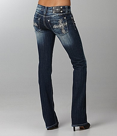 Miss Me Jeans Feather-Cross Bootcut Jeans