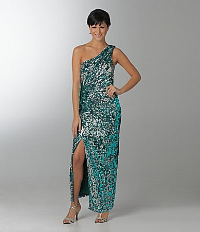 As U Wish Sequin One-Shoulder Sequin Dress