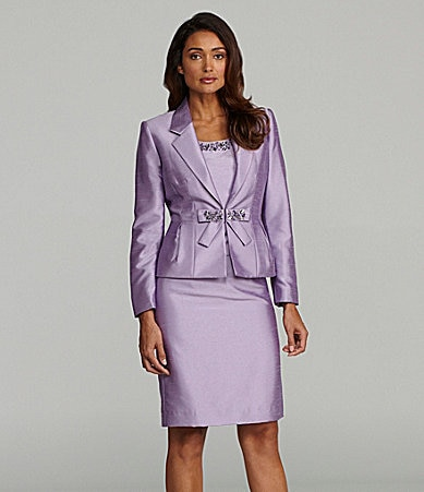 Tahari by ASL 3-Piece Beaded Skirted Suit
