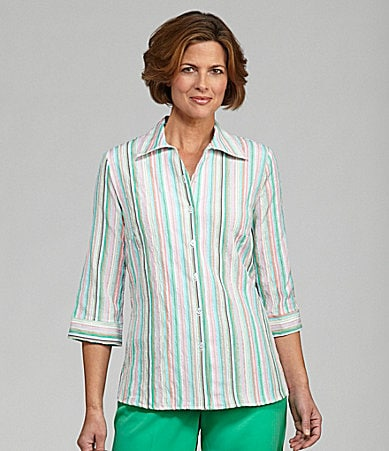 Allison Daley Texture Stripe Blouse
