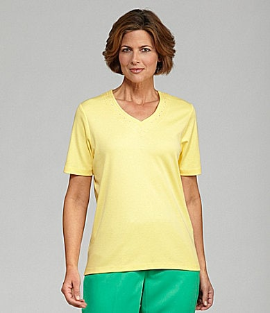 Allison Daley Petites Embroidered V-Neck Top