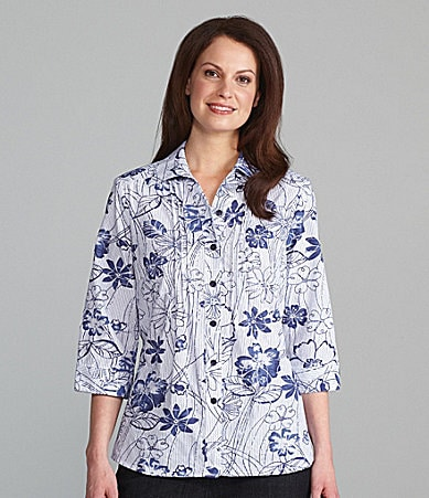 Allison Daley Tonal Floral-Print Crush Burnout Blouse
