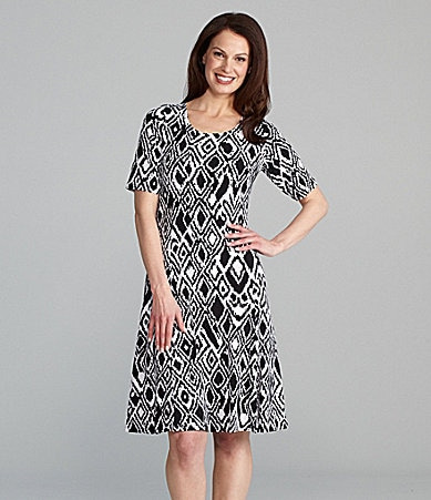 TanJay Petites Ikat Printed Elbow Sleeve Dress