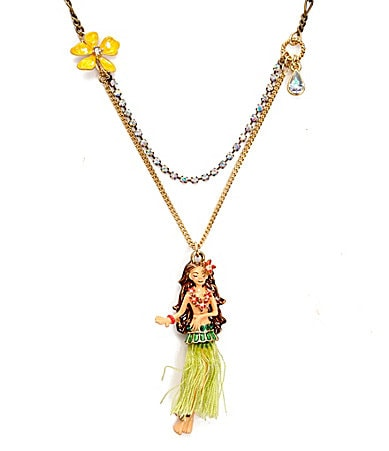 Betsey Johnson Hawaiian Luau Hula Girl Pendant Necklace