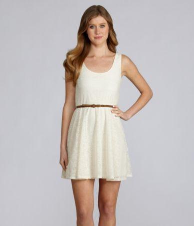 cute tanish dress with wide brown waist belt