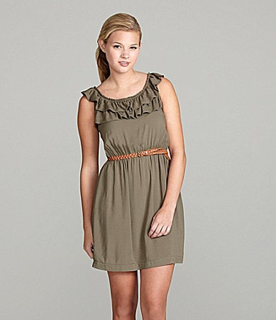 B. Darlin Belted Challis Dress