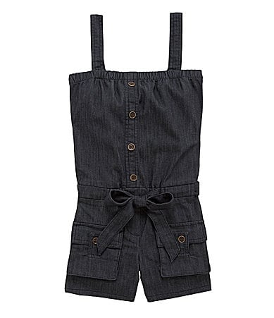 2 Hip by Wrapper 7-16 Denim Romper