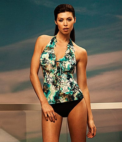 Be Creative Velvet Rose Halter Tankini Top & Solid High-Waist Bottom