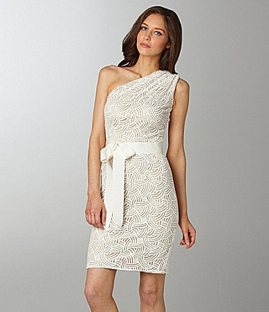 Tadashi One-Shoulder Lace Dress