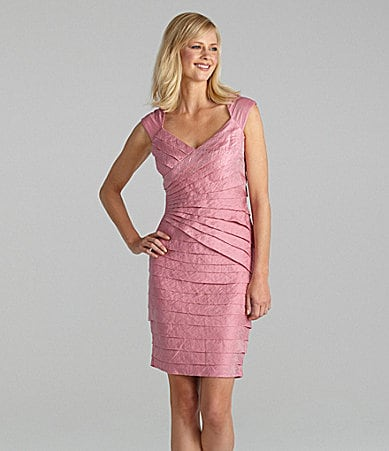 London Times Woman Shimmer Tiered Dress
