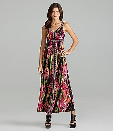 Calvin Klein Tribal-Trim Maxi Dress