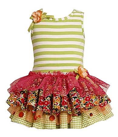 Bonnie Jean 2T-6X Striped Tiered Drop-Waist Dress