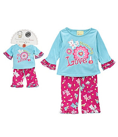 Sweet Heart Rose for Dollie & Me 2T-12 Blossoming Love Pajama Set