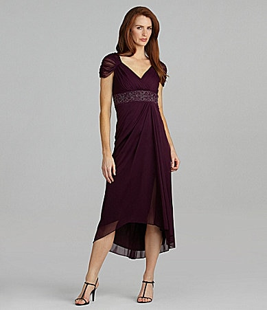 Alex Evenings Petites Beaded Mesh Hi-Low Gown