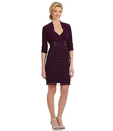 S.L. Fashions Beaded Bolero Jacket Dress
