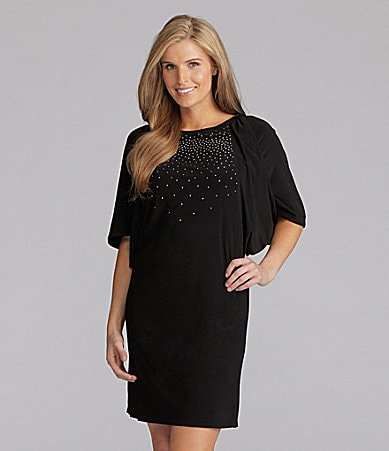 R & M Richards Woman Rhinestone Dolman-Sleeve Dress