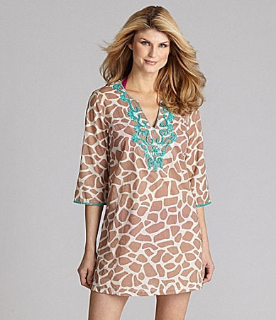 Antonio Melani Swim Giraffe-Print Beaded Tunic Coverup