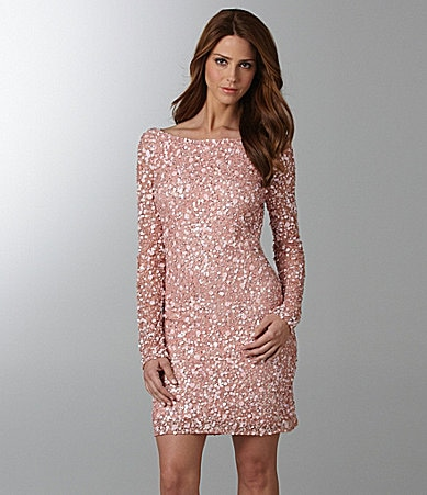Aidan Mattox Beaded Long-Sleeve Dress