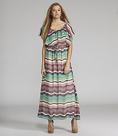 GB Flounce Ruffle Maxi Dress