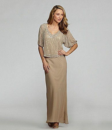 Jkara Chiffon Beaded Blouson Gown