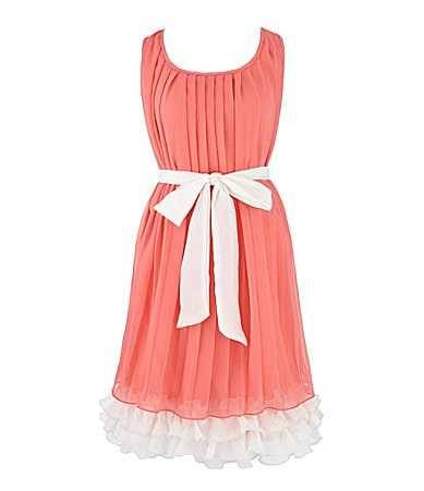 2 Hip by Wrapper 7-16 Solid Pleat Dress