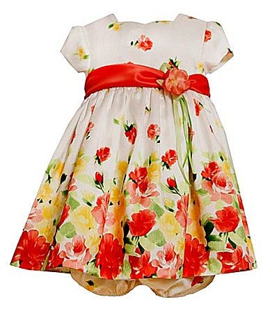 Bonnie Baby Newborn Floral-Border Shantung Dress & Panty