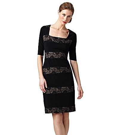 Adrianna Papell Lace-Stripe Jersey Dress