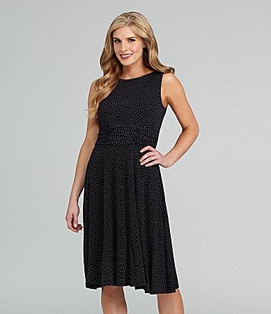 Jessica Howard Sleeveless Pin-Dot Dress
