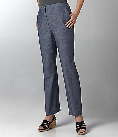 Samantha Grey Solid Chambray Pants