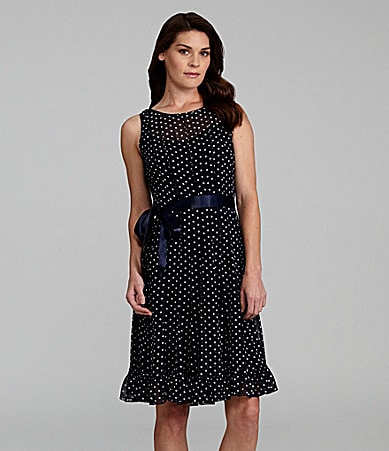 Jessica Howard Sleeveless Polka-Dot Dress