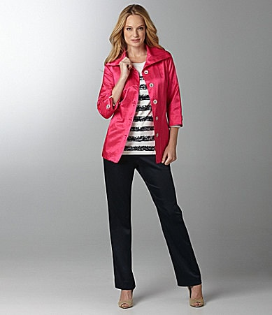 Sharon Young Crinkle Shimmer Jacket, Stripe Foil Top & Sateen Pants