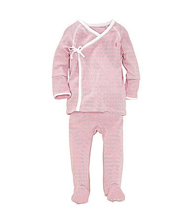 Ralph Lauren Childrenswear Newborn Striped Kimono Set