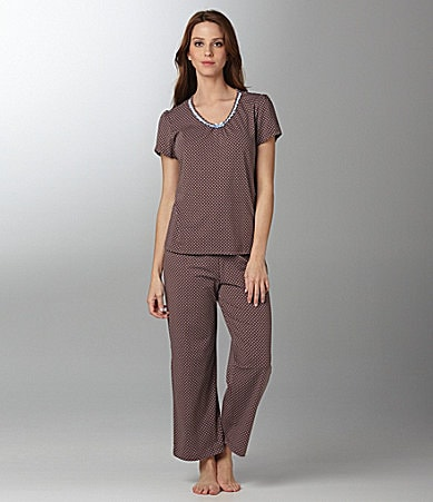 Sleep Sense Dot Print V-Neck Top & Capris