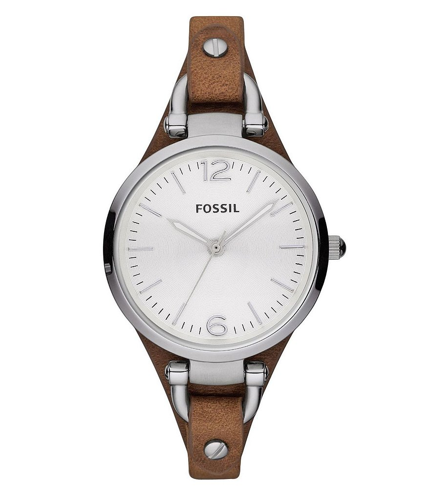 Fossil Georgia Brown Leather Saddle Strap Stainless Steel 3 Hand Analog Ladies Watch