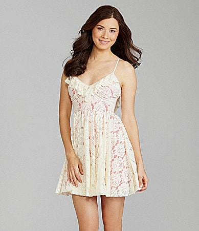 Chelsea & Violet Lace Ruffle-Neck Dress