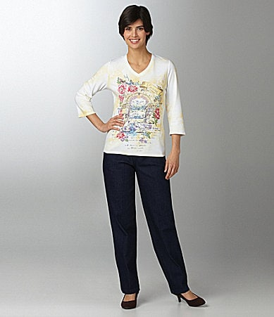 Allison Daley Art-to-Wear Knit Top & Mock-Fly Pull-On Pants