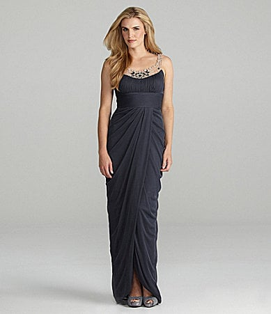 Adrianna Papell Beaded Necklace Gown