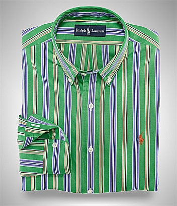 Polo Ralph Lauren Custom-Fit Bright Striped Poplin Sportshirt