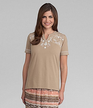 Samantha Grey Embroidered Yoke Knit Top