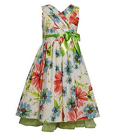Bonnie Jean 7-16 Flower Printed Crossover Dress