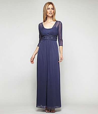 Alex Evenings Woman Beaded Mesh Gown