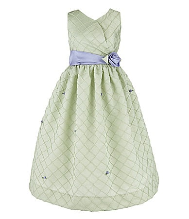 Jayne Copeland 2T-6X Diamond-Textured Shantung Dress
