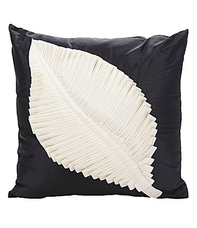 THRO by Marlo Lorenz Meryl Leaf Black Decorative Pillow