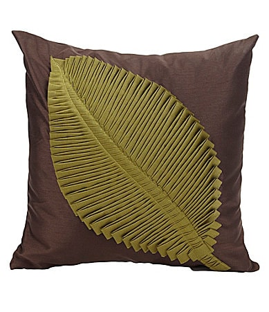 THRO by Marlo Lorenz Meryl Leaf Brown Decorative Pillow