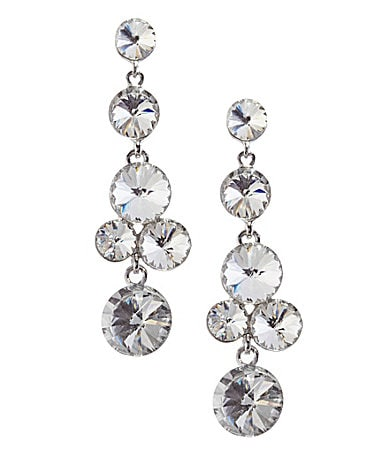 Natasha Accessories Crystal Bubble Linear Earrings